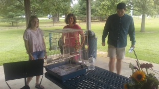 Rosie the Cockatiel visits Blessing of the Pets
